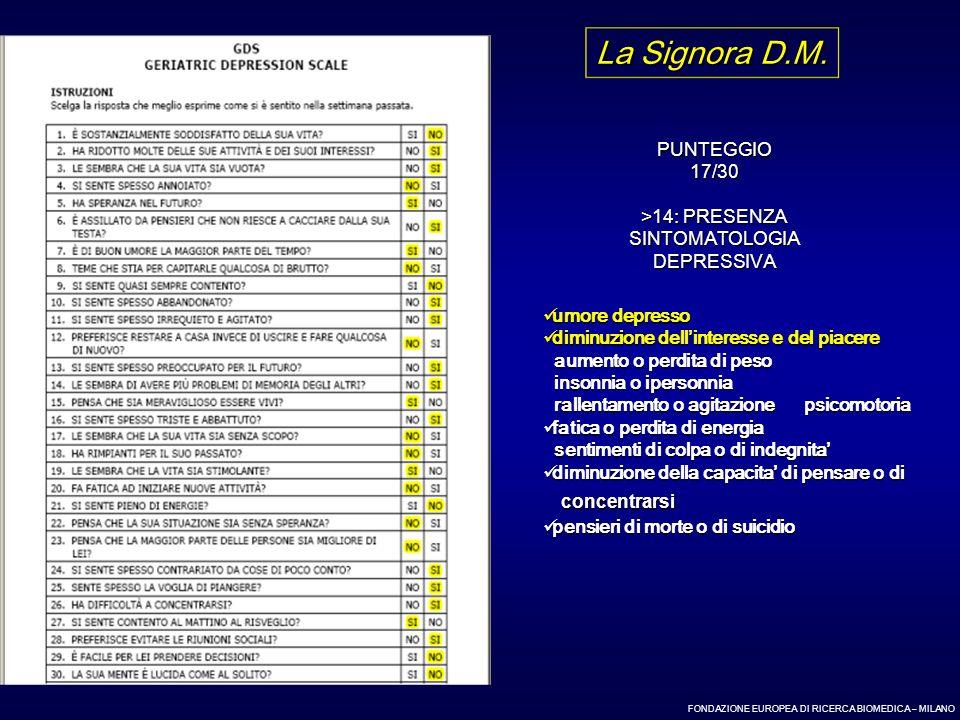 La Signora D.M. concentrarsi PUNTEGGIO 17/30 >14: PRESENZA