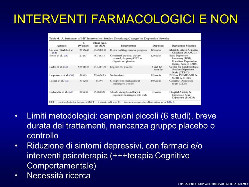 INTERVENTI FARMACOLOGICI E NON