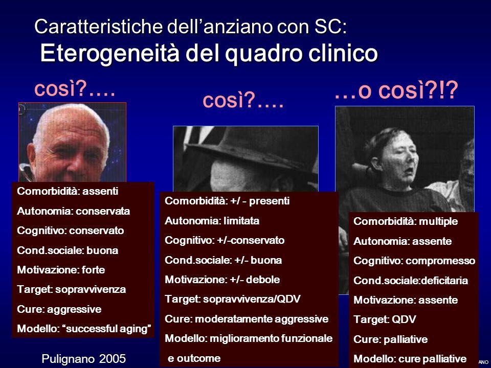 Caratteristiche dell'anziano con SC: Eterogeneità del quadro clinico