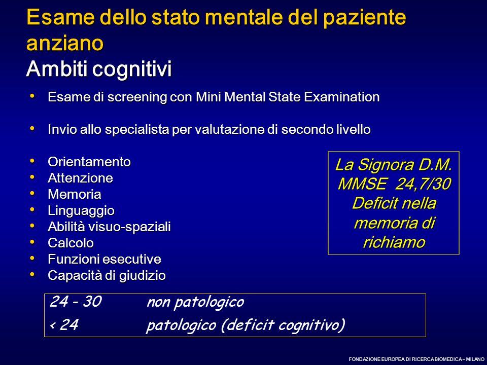 Esame dello stato mentale del paziente anziano Ambiti cognitivi