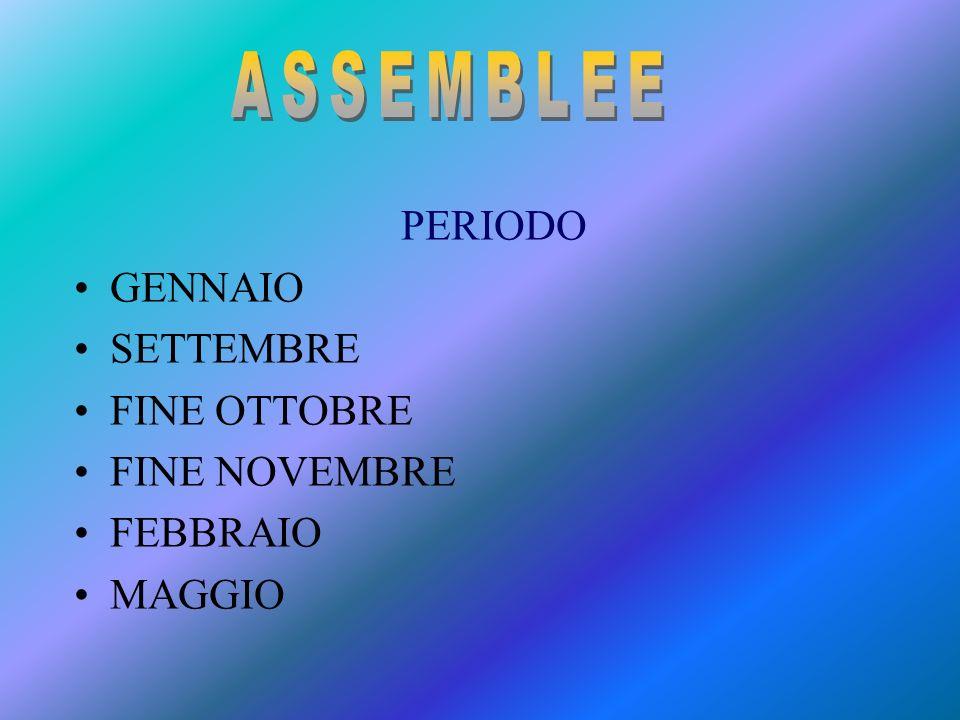 ASSEMBLEE PERIODO GENNAIO SETTEMBRE FINE OTTOBRE FINE NOVEMBRE