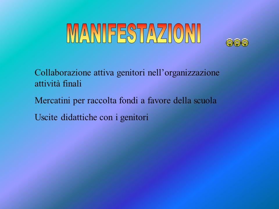 MANIFESTAZIONI Collaborazione attiva genitori nell'organizzazione attività finali. Mercatini per raccolta fondi a favore della scuola.