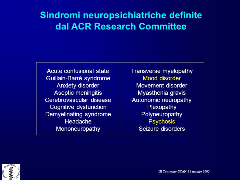 Sindromi neuropsichiatriche definite dal ACR Research Committee