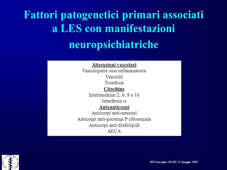 Fattori patogenetici primari associati a LES con manifestazioni neuropsichiatriche