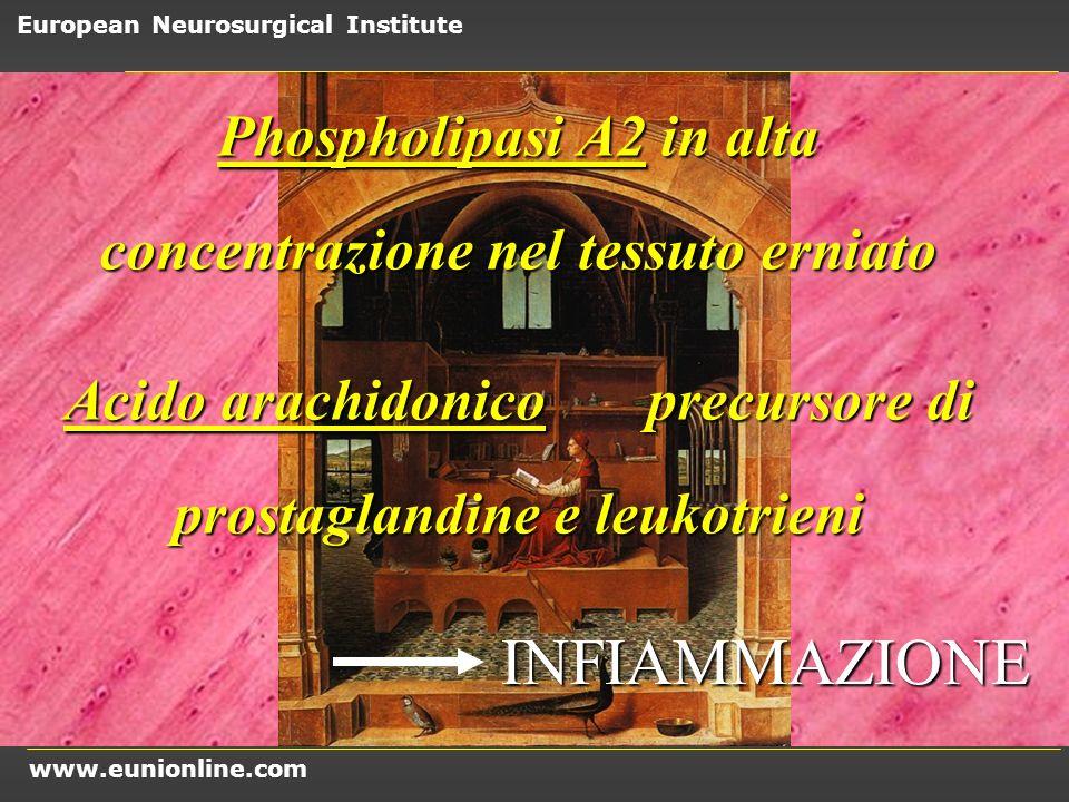 Phospholipasi A2 in alta concentrazione nel tessuto erniato