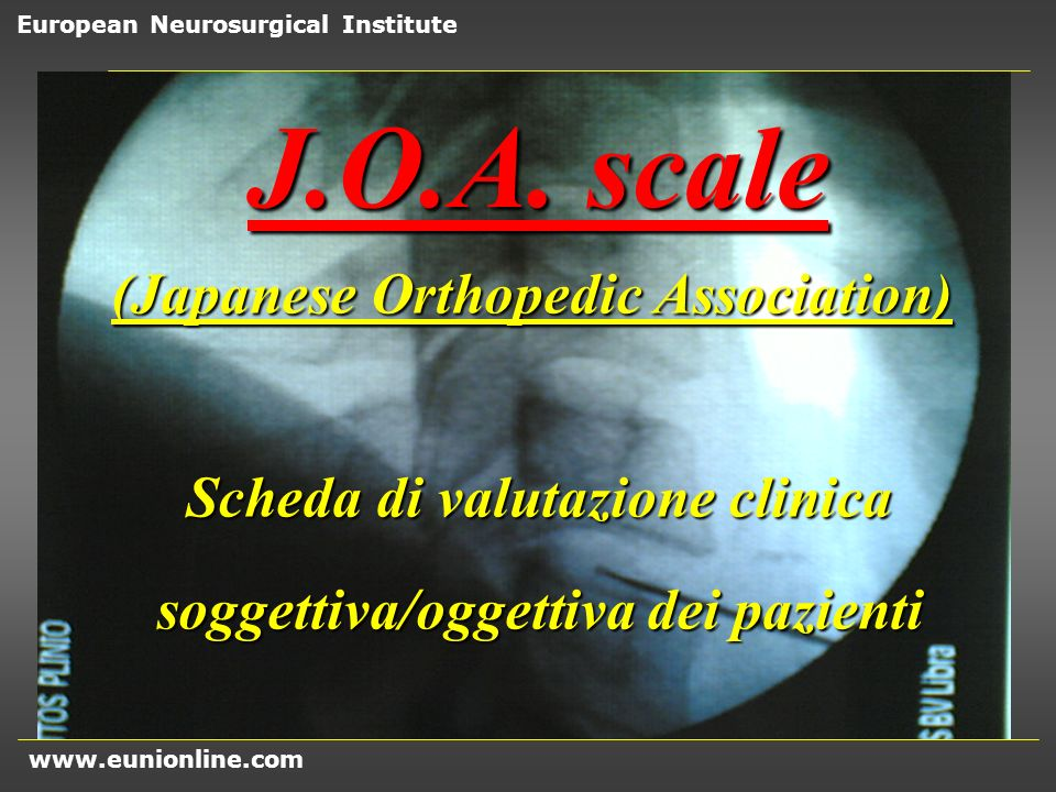 J.O.A. scale (Japanese Orthopedic Association)