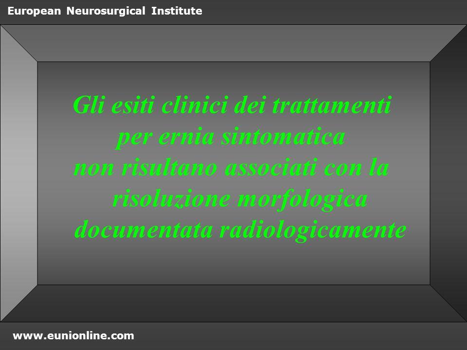Gli esiti clinici dei trattamenti
