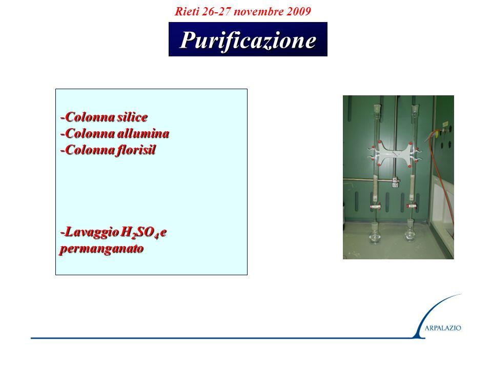 Purificazione Colonna silice Colonna allumina Colonna florisil