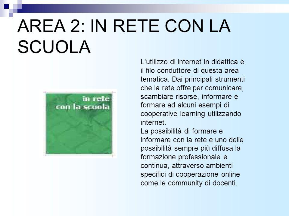 AREA 2: IN RETE CON LA SCUOLA