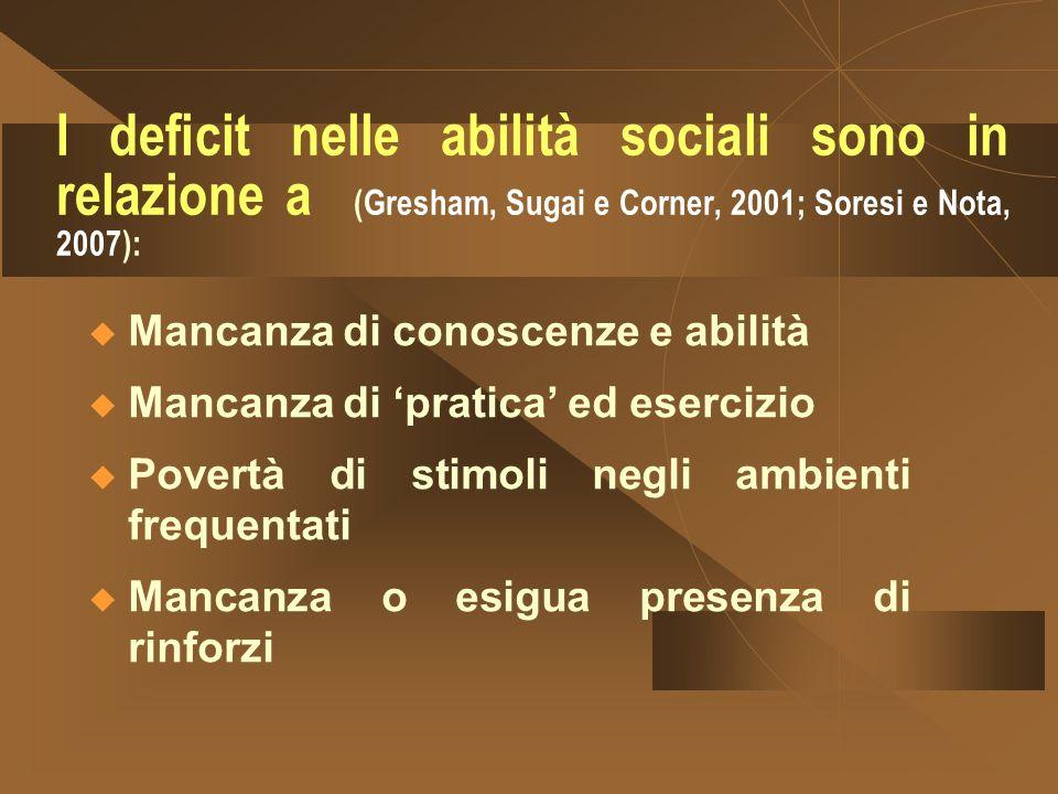 I deficit nelle abilità sociali sono in relazione a (Gresham, Sugai e Corner, 2001; Soresi e Nota, 2007):
