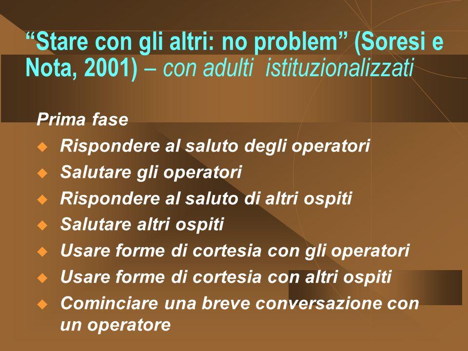 Stare con gli altri: no problem (Soresi e Nota, 2001) – con adulti istituzionalizzati