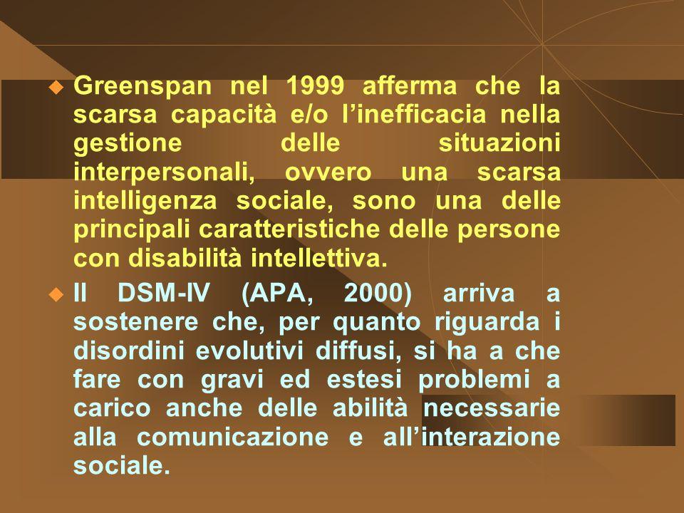 Greenspan nel 1999 afferma che la scarsa capacità e/o l'inefficacia nella gestione delle situazioni interpersonali, ovvero una scarsa intelligenza sociale, sono una delle principali caratteristiche delle persone con disabilità intellettiva.
