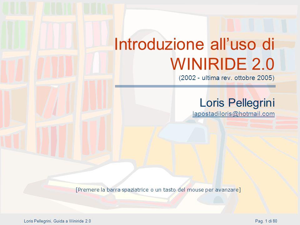 Introduzione all'uso di WINIRIDE 2.0 (2002 - ultima rev. ottobre 2005)