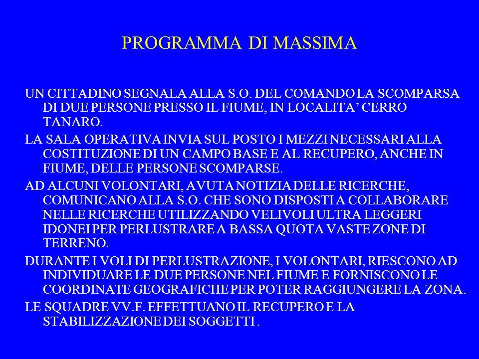 PROGRAMMA DI MASSIMA UN CITTADINO SEGNALA ALLA S.O. DEL COMANDO LA SCOMPARSA DI DUE PERSONE PRESSO IL FIUME, IN LOCALITA' CERRO TANARO.