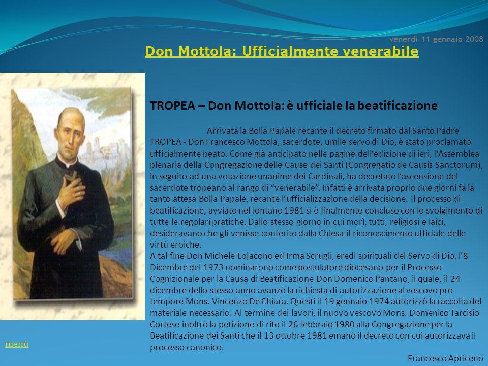 TROPEA – Don Mottola: è ufficiale la beatificazione