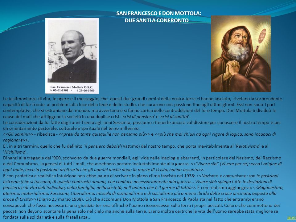 SAN FRANCESCO E DON MOTTOLA: