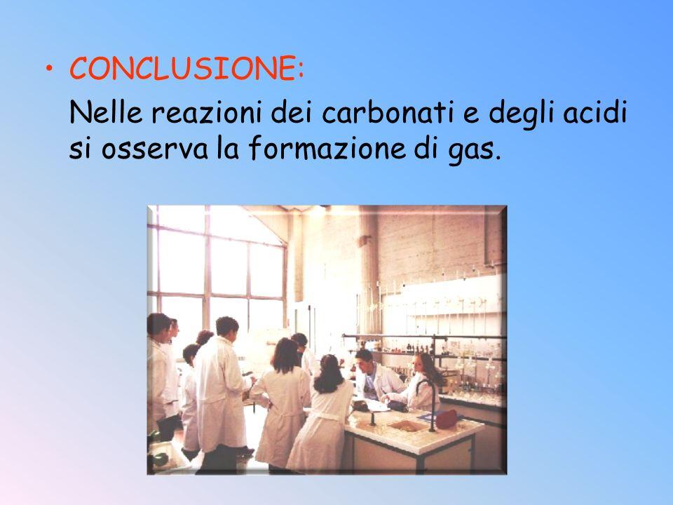CONCLUSIONE: Nelle reazioni dei carbonati e degli acidi si osserva la formazione di gas.