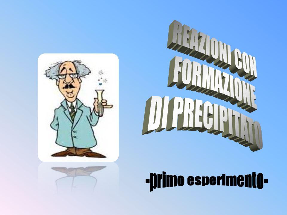 REAZIONI CON FORMAZIONE DI PRECIPITATO -primo esperimento-