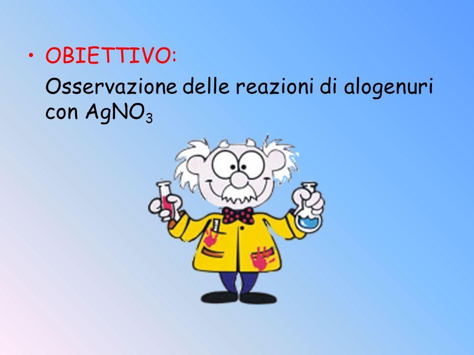 OBIETTIVO: Osservazione delle reazioni di alogenuri con AgNO3