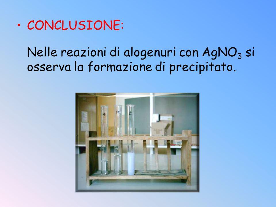 CONCLUSIONE: Nelle reazioni di alogenuri con AgNO3 si osserva la formazione di precipitato.
