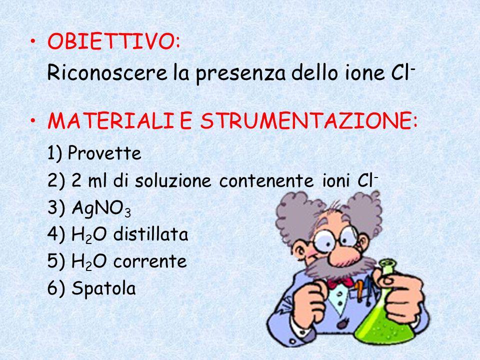 Riconoscere la presenza dello ione Cl- MATERIALI E STRUMENTAZIONE: