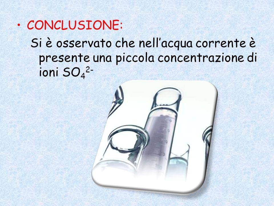 CONCLUSIONE: Si è osservato che nell'acqua corrente è presente una piccola concentrazione di ioni SO42-