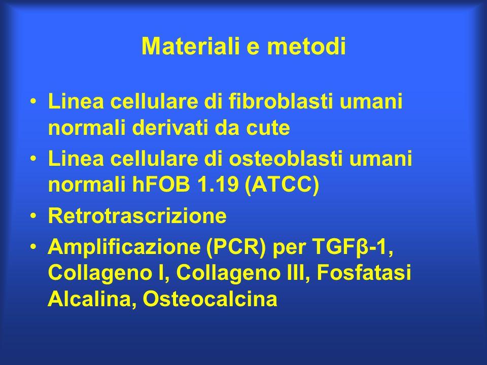 Materiali e metodi Linea cellulare di fibroblasti umani normali derivati da cute. Linea cellulare di osteoblasti umani normali hFOB 1.19 (ATCC)