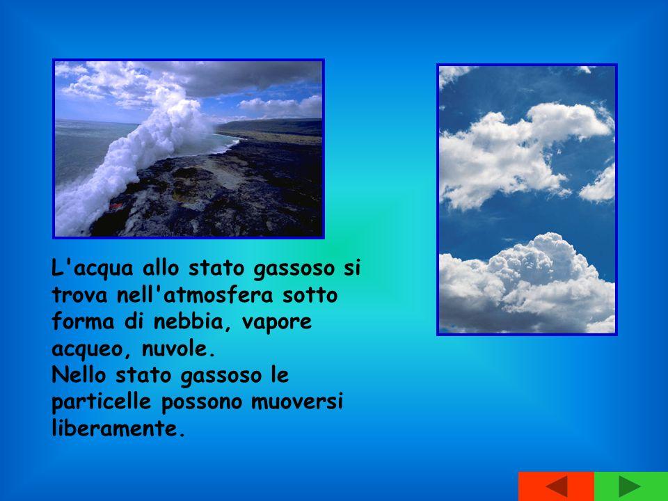 L acqua allo stato gassoso si trova nell atmosfera sotto forma di nebbia, vapore acqueo, nuvole.