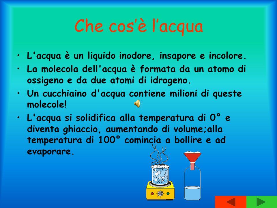 Che cos'è l'acqua L acqua è un liquido inodore, insapore e incolore.