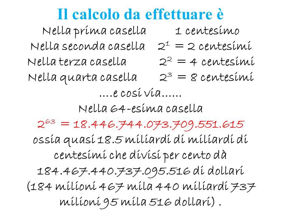 Il calcolo da effettuare è Nella prima casella 1 centesimo Nella seconda casella 21 = 2 centesimi Nella terza casella 22 = 4 centesimi Nella quarta casella 23 = 8 centesimi ….e cosi via…… Nella 64-esima casella 263 = 18.446.744.073.709.551.615 ossia quasi 18.5 miliardi di miliardi di centesimi che divisi per cento dà 184.467.440.737.095.516 di dollari (184 milioni 467 mila 440 miliardi 737 milioni 95 mila 516 dollari) .