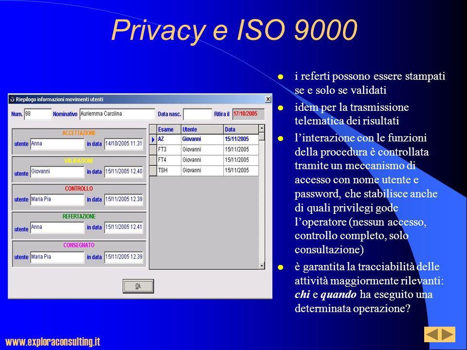 Privacy e ISO 9000 i referti possono essere stampati se e solo se validati. idem per la trasmissione telematica dei risultati.