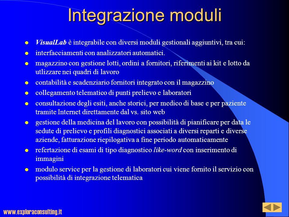 Integrazione moduli VisualLab è integrabile con diversi moduli gestionali aggiuntivi, tra cui: interfacciamenti con analizzatori automatici.
