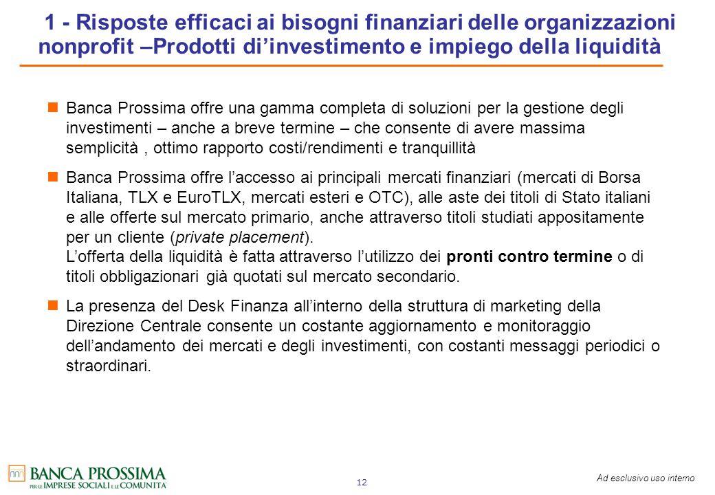1 - Risposte efficaci ai bisogni finanziari delle organizzazioni nonprofit –Prodotti di'investimento e impiego della liquidità