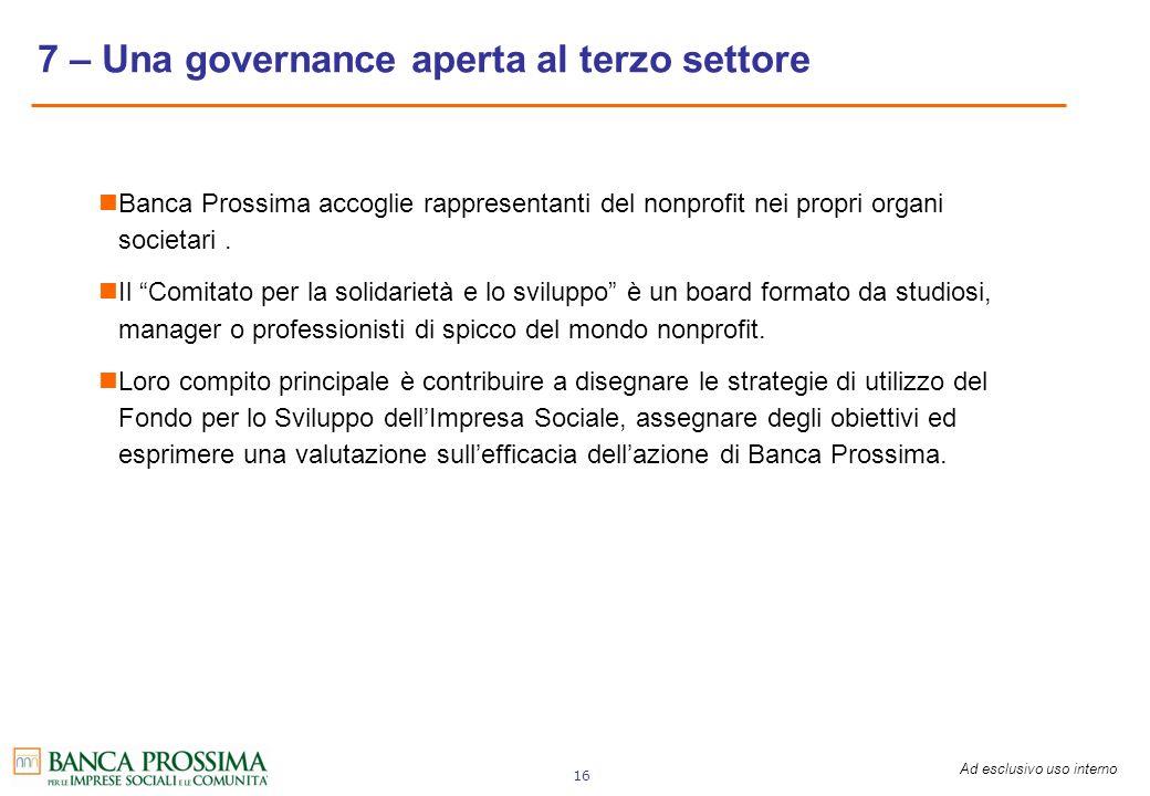 7 – Una governance aperta al terzo settore