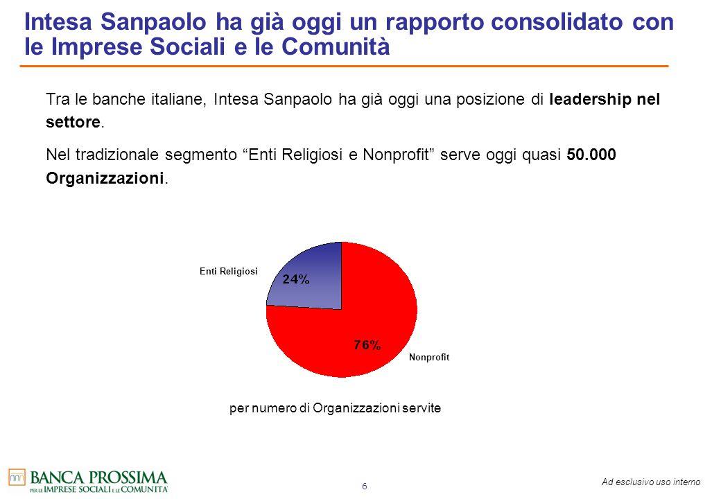 Intesa Sanpaolo ha già oggi un rapporto consolidato con le Imprese Sociali e le Comunità