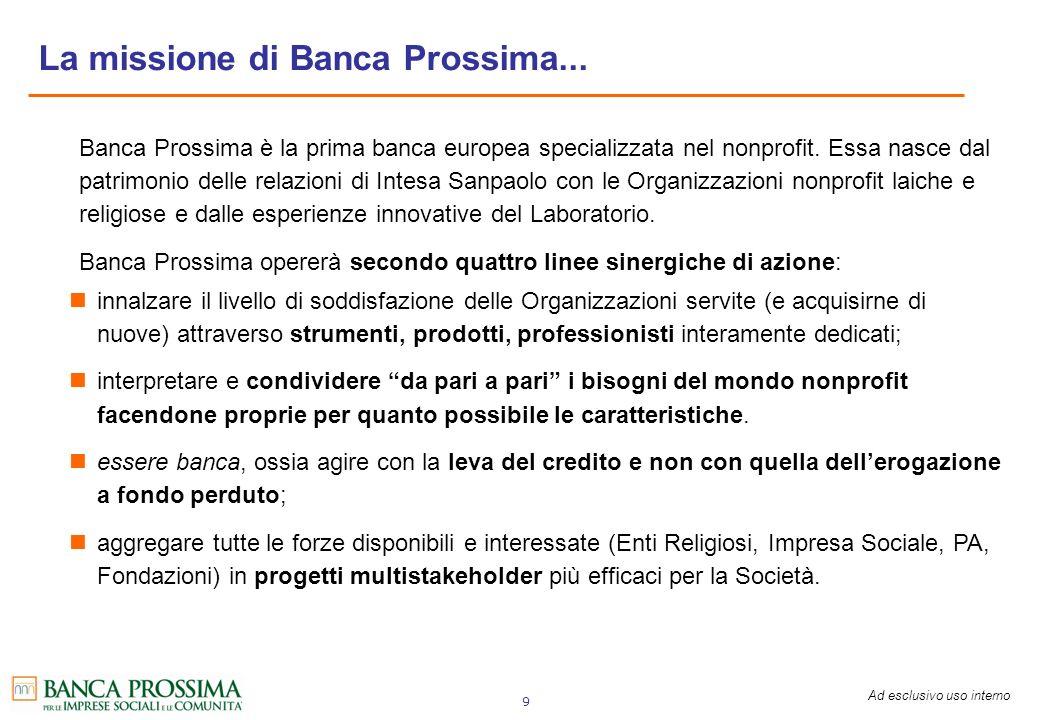 La missione di Banca Prossima...