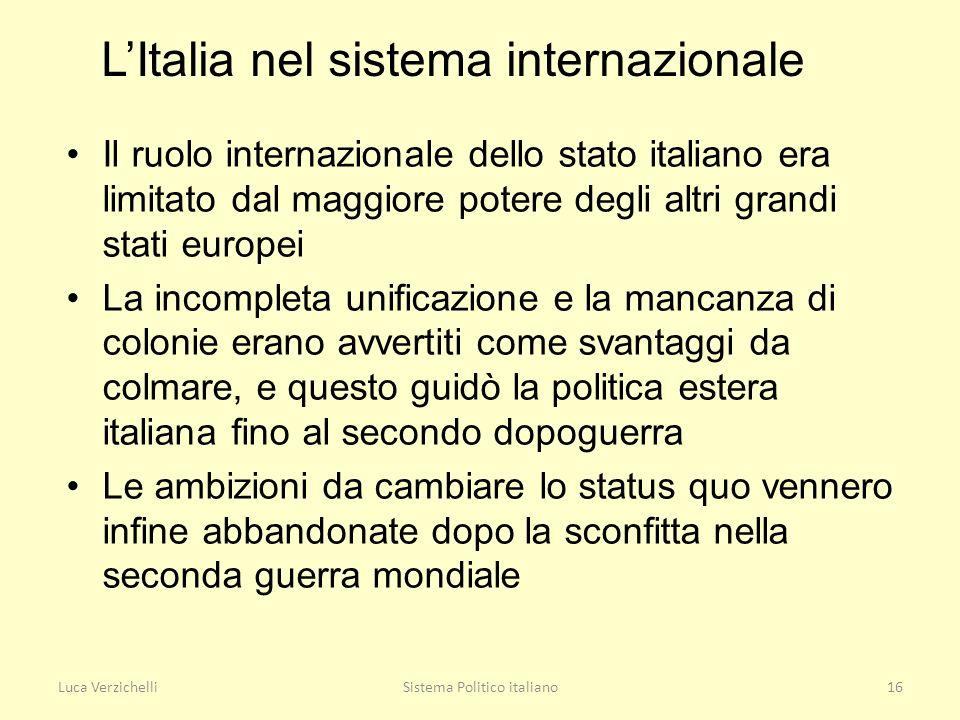 L'Italia nel sistema internazionale