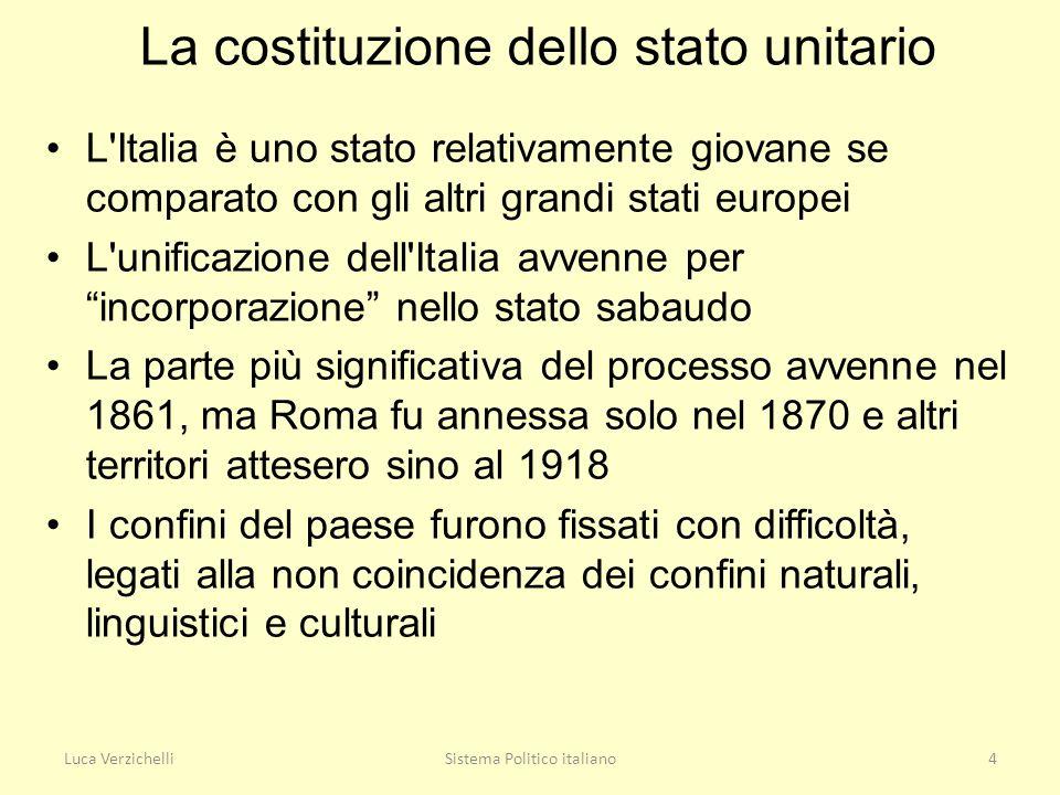 La costituzione dello stato unitario