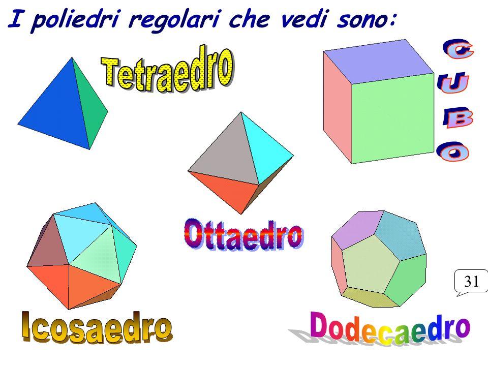 I poliedri regolari che vedi sono: