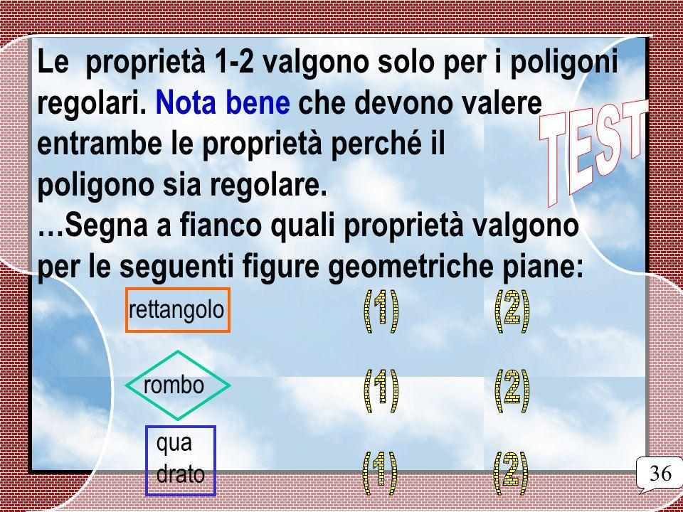 Le proprietà 1-2 valgono solo per i poligoni. regolari