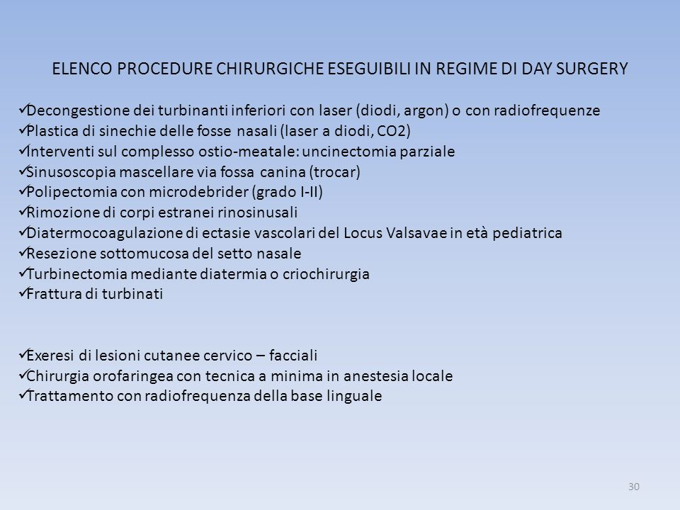 ELENCO PROCEDURE CHIRURGICHE ESEGUIBILI IN REGIME DI DAY SURGERY