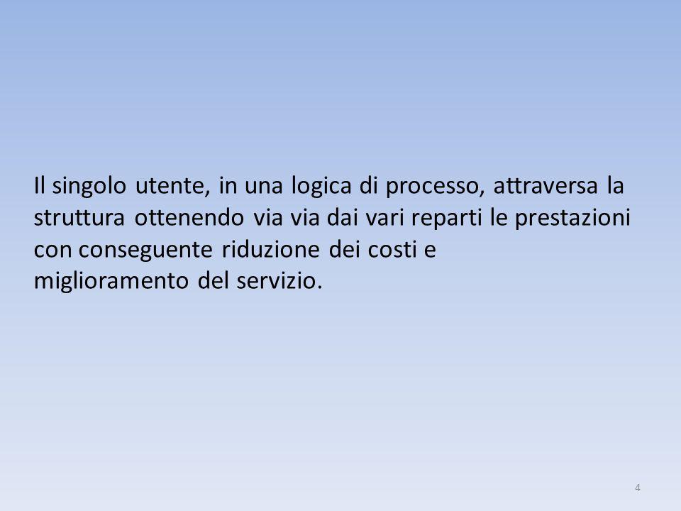 Il singolo utente, in una logica di processo, attraversa la struttura ottenendo via via dai vari reparti le prestazioni con conseguente riduzione dei costi e