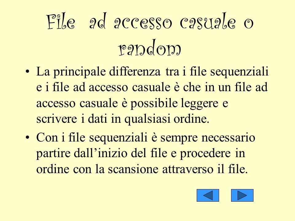 File ad accesso casuale o random