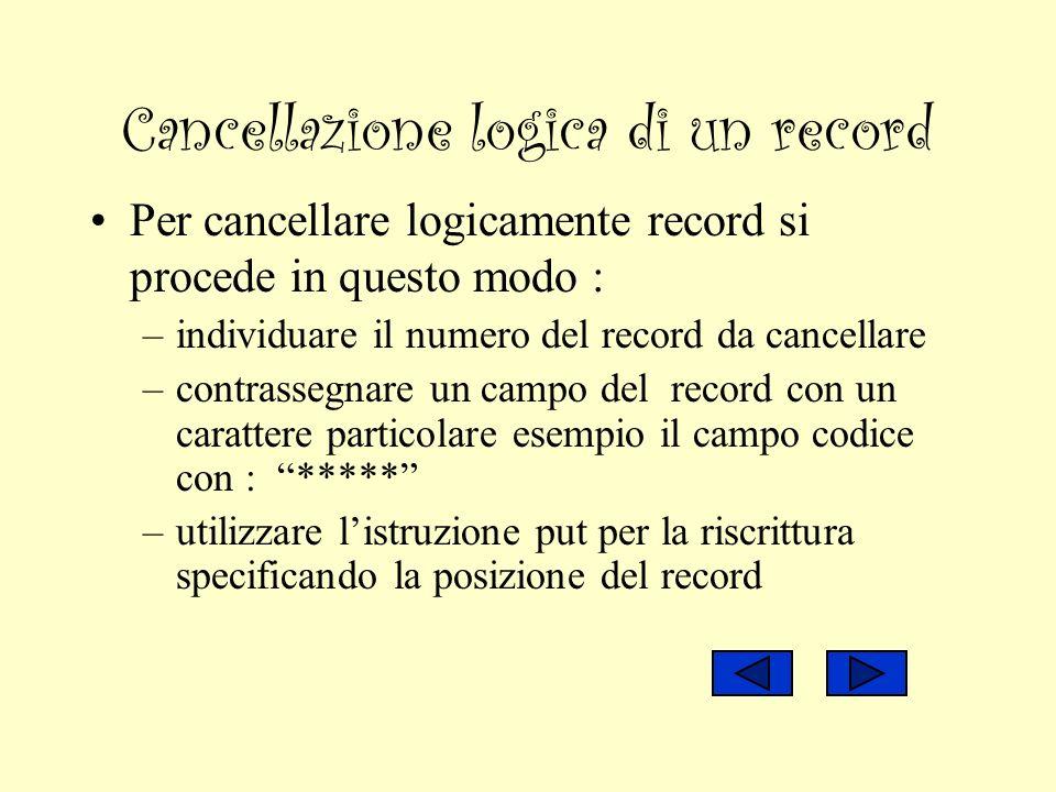 Cancellazione logica di un record