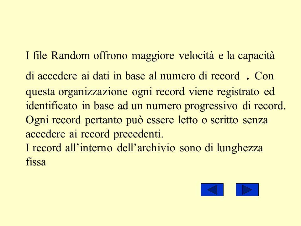 I file Random offrono maggiore velocità e la capacità di accedere ai dati in base al numero di record .