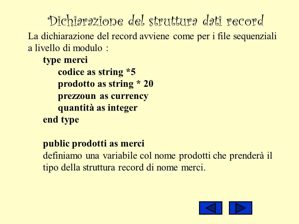 Dichiarazione del struttura dati record