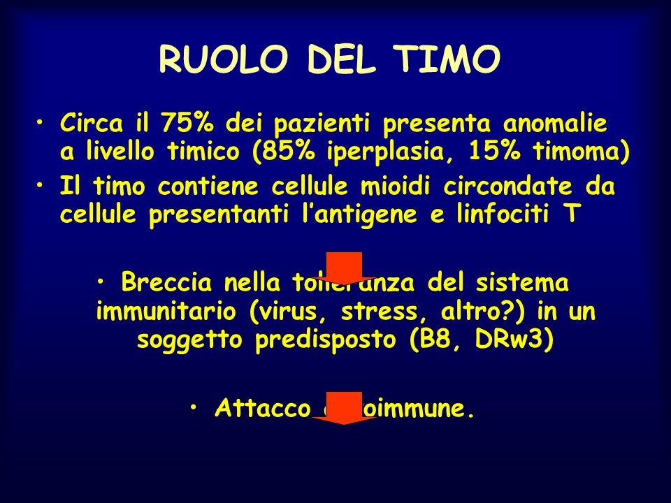 RUOLO DEL TIMO Circa il 75% dei pazienti presenta anomalie a livello timico (85% iperplasia, 15% timoma)