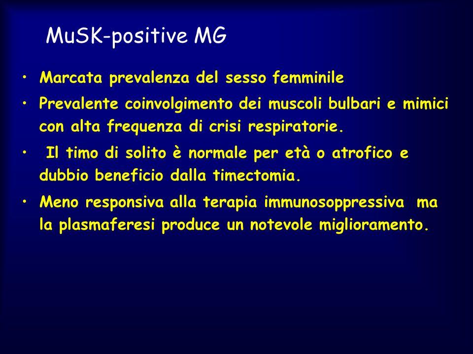 MuSK-positive MG Marcata prevalenza del sesso femminile