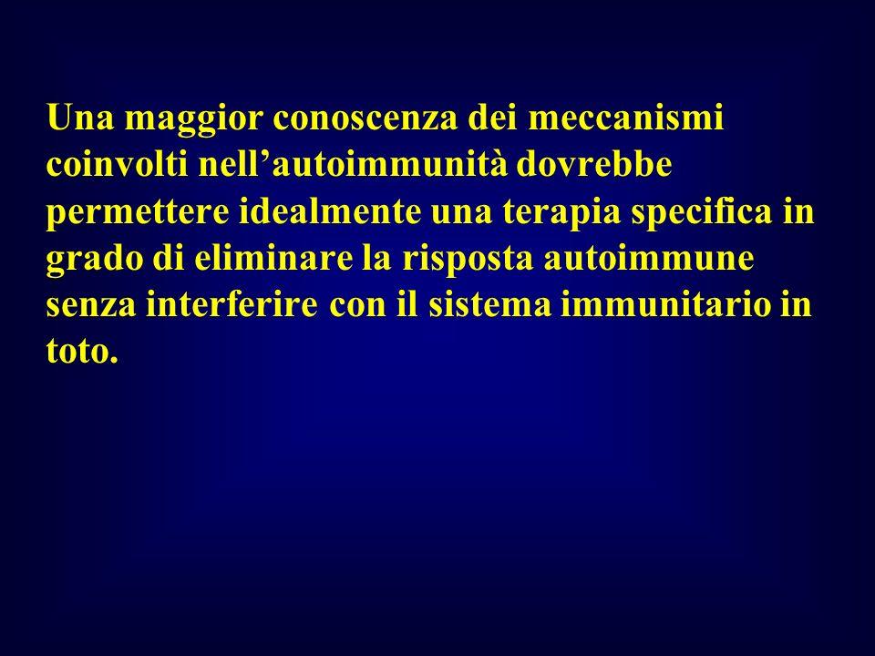 Una maggior conoscenza dei meccanismi coinvolti nell'autoimmunità dovrebbe permettere idealmente una terapia specifica in grado di eliminare la risposta autoimmune senza interferire con il sistema immunitario in toto.