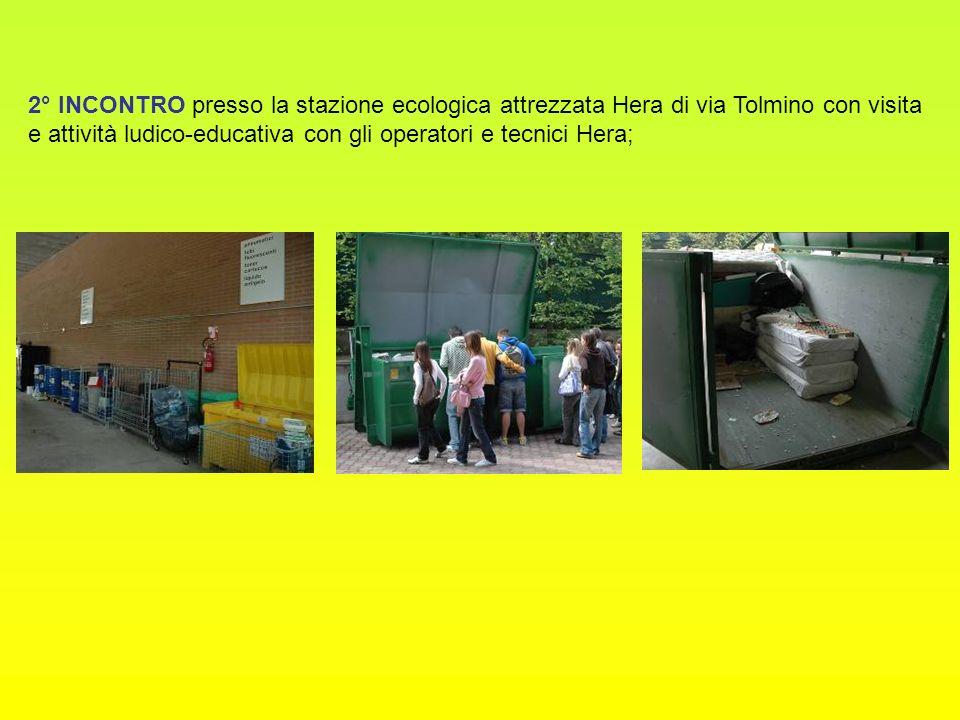 2° INCONTRO presso la stazione ecologica attrezzata Hera di via Tolmino con visita e attività ludico-educativa con gli operatori e tecnici Hera;